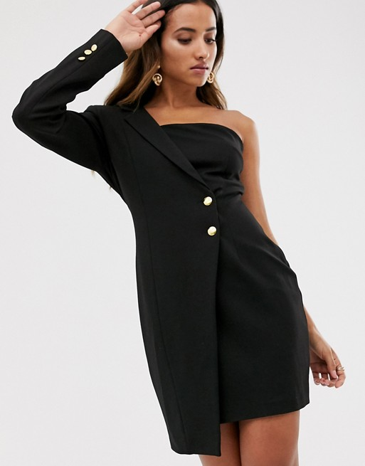 Unique21 one shoulder tuxedo dress | AS