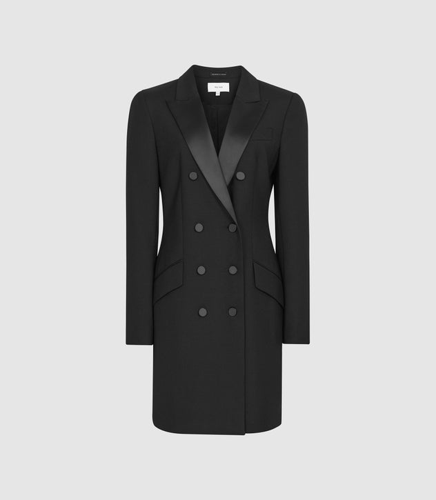 Sofia Black Wool Blend Tuxedo Dress – REI
