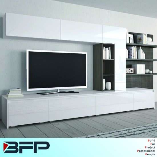 China Wooden TV Furniture Table Cabinet Designs with Bookshelf .
