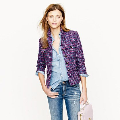 So want a tweed blazer this fall! Multicolor tweed jacket .