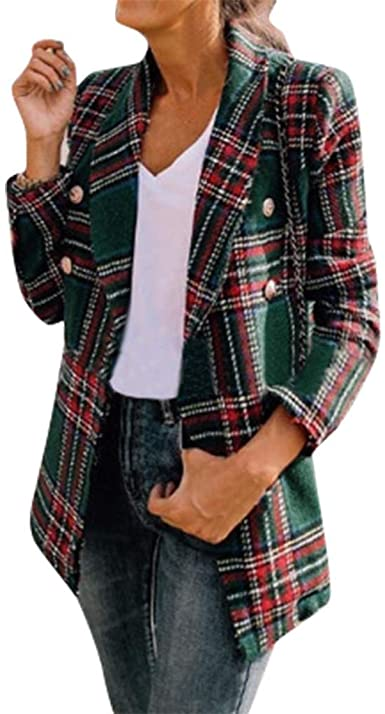 Women's Tweed Blazers Plaid Braided Tape Frayed Trim Double .