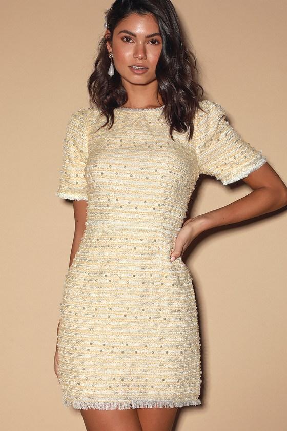 Chic Pearl Dress - Short Sleeve Mini Dress - Fringe Dre