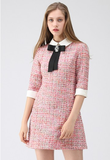 Knock on Your Heart Diamond Bowknot Tweed Dress - Retro, Indie and .