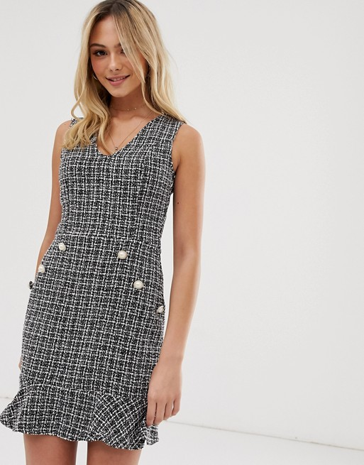 Parisian tweed dress with fluted hem and pearl effect buttons | AS