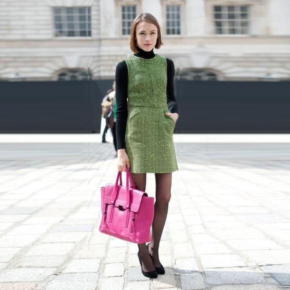 Topshop Dresses | Nwt Tweed Dress Jumper Neon Green | Poshma