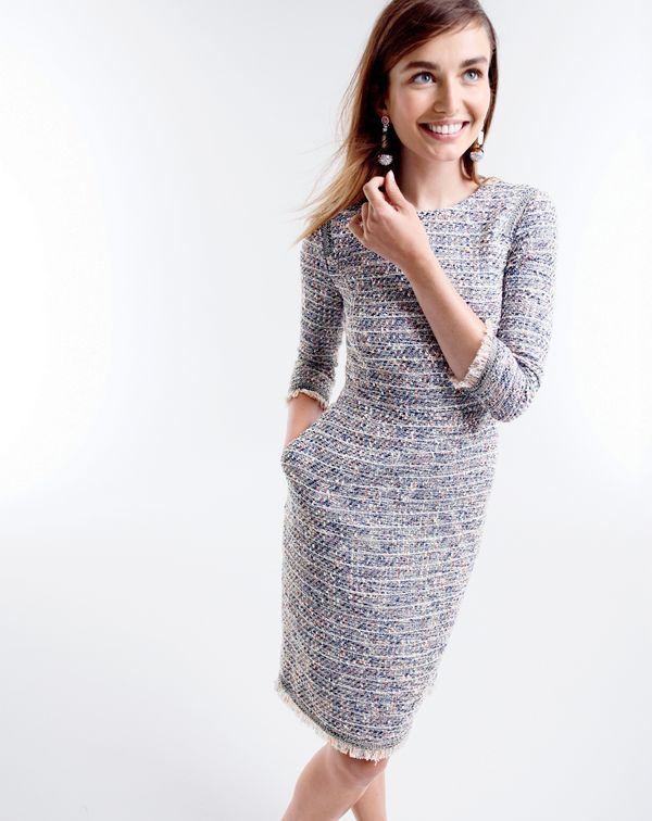 J.Crew women's long-sleeve multicolored tweed dress with fringe .