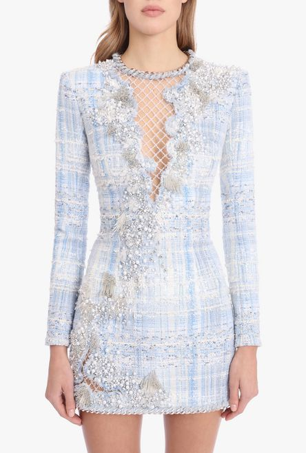 Embroidered Blue, White And Silver Tweed Dress for Women - Balmain.c