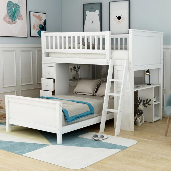 Harper & Bright Designs White Classic Twin Over Twin Bed with .