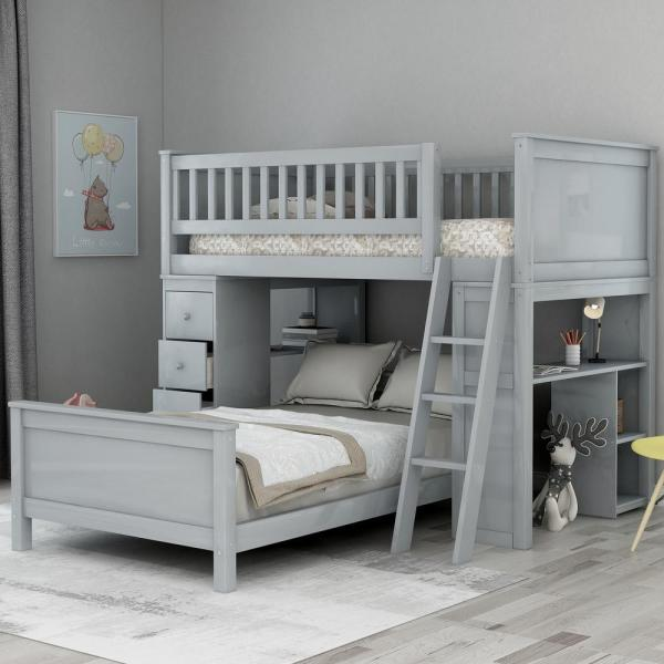 Harper & Bright Designs Grey Classic Twin Over Twin Bed with .