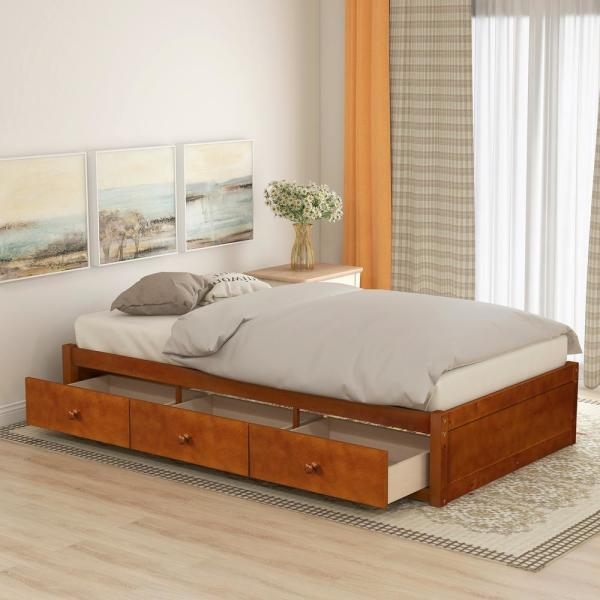 Harper & Bright Designs Oak Twin Size Platform Storage Bed with 3 .