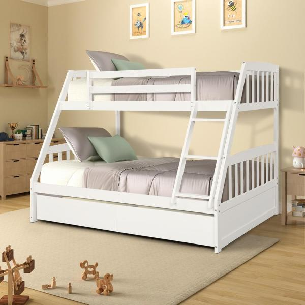 Harper & Bright Designs White Solid Wood Twin Over Full Bunk Bed .
