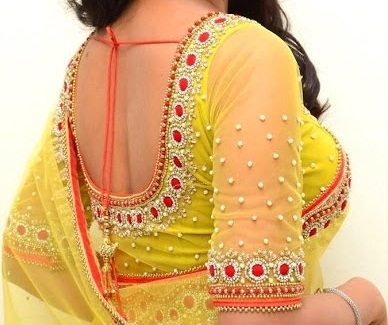 9 Modern U Shaped Blouse Neck Designs at Back and Fro
