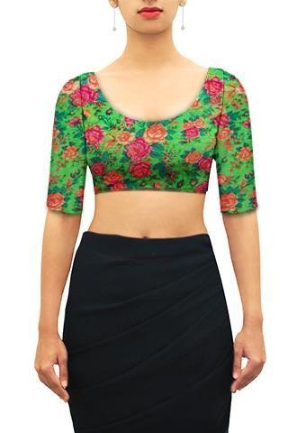 Floral print on kota silk U neck blouse. | Blouse designs, Saree .