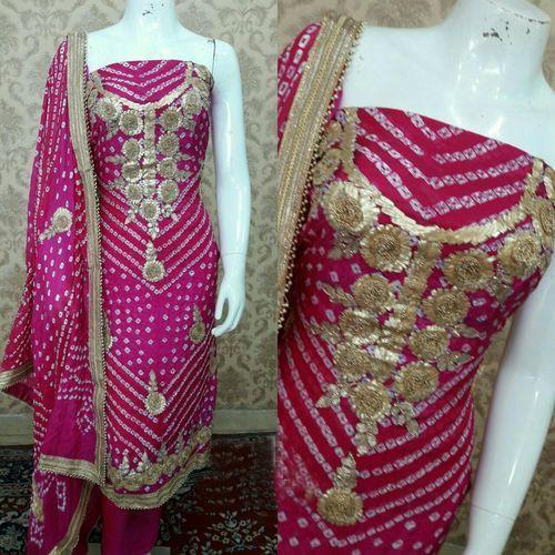Silk Ladies Bndhani Unstitched Salwar Suit, Rs 1500 /piece K K .
