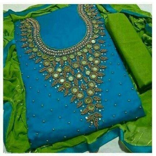 Party Wear Chanderi cotton ( Suit ) Ladies Unstitched Salwar Suit .