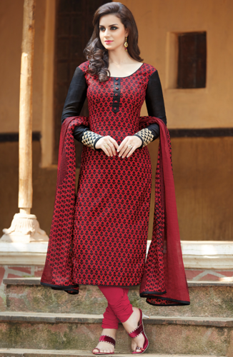 Black and Red Cotton Silk Unstitched Salwar Kameez .