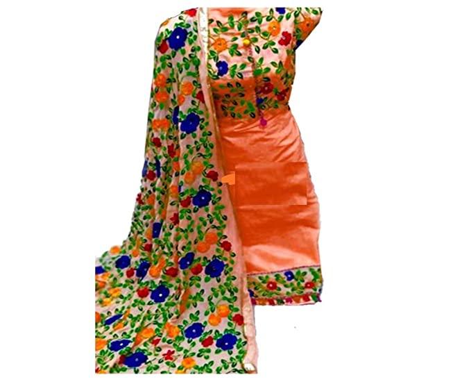 Buy Cs Fashion Women's Chanderi Unstitched Salwar Suit Material .