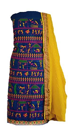 KATHIWALAS Women's Cotton Silk Unstitched Salwar Suit (Wk 7 .