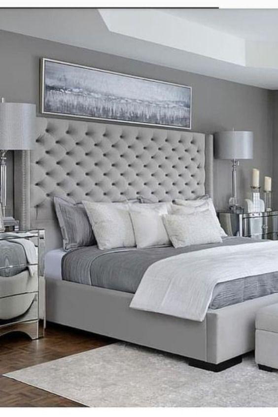 Details about Wing Back Bed Frame Upholstered Fabric Velvet .