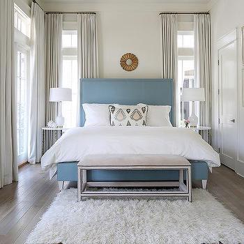 Cornflower Blue Upholstered Bed Design Ide