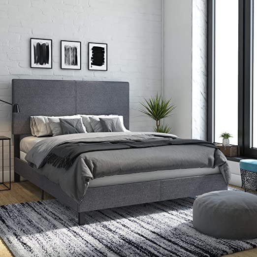 Amazon.com: DHP Janford Upholstered Bed with Chic Design, Queen .