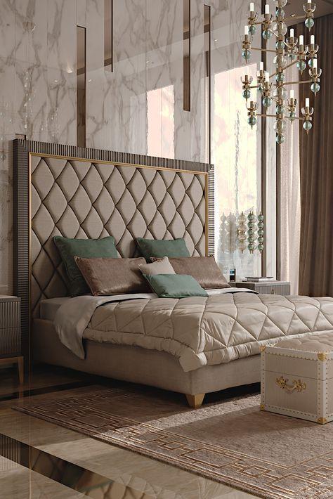 Italian Designer Art Deco Inspired Upholstered Bed with Tall .