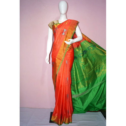 Orange And Green Bhavya Sarees Designer Uppada Saree, Rs 5000 .
