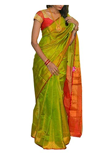 Buy Women's Uppada Saree With Running Blouse (2452_Green) at Amazon.