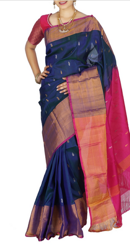 Navy Blue Uppada Sarees With Butti Up624, 6.3 M (with Blouse Piece .