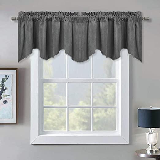 Amazon.com: Blackout Scalloped Velvet Valance Curtains - Elegant .