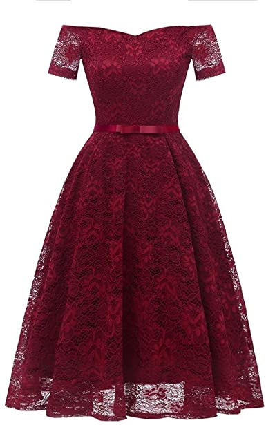 Women Dress, Vintage Floral Lace Off Shoulder Party Valentine's .