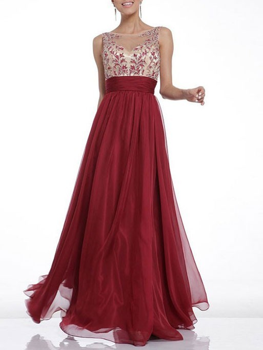 Valentines Day Dresses Burgundy Lace Embroidery Stitching Chiffon .