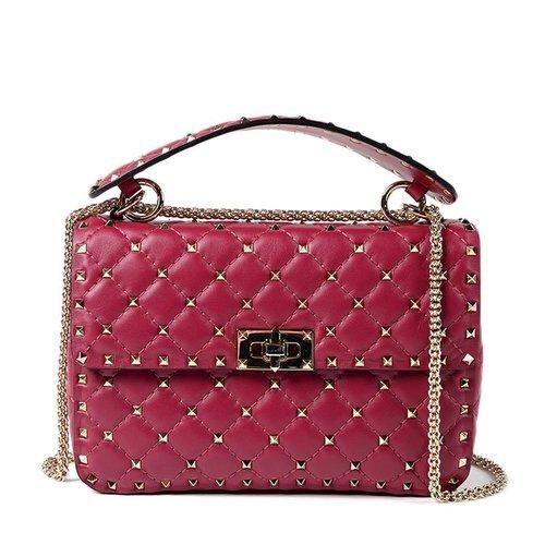 Valentino Rockstud Spike quilted leather handbag Red – Designer .