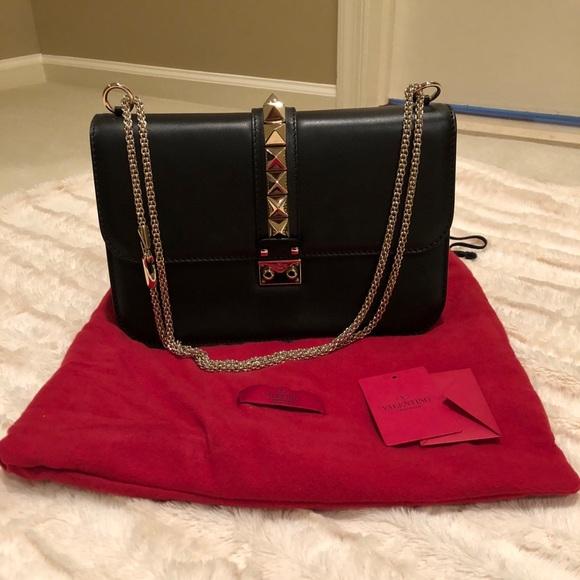Valentino Bags | Rockstud Glam Lock Large Flap Bag Black | Poshma