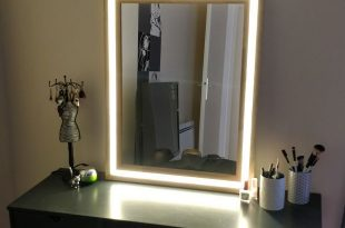 Modern Wood and LED Vanity Mirror | Diy mirror with lights, Diy .