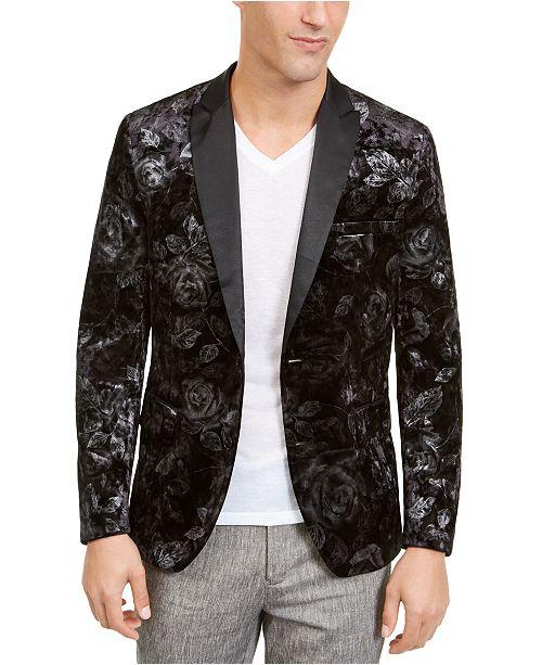 INC International Concepts INC Men's Foil Printed Velvet Blazer .