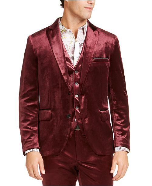 INC International Concepts INC Men's Slim-Fit Shiny Velvet Blazer .