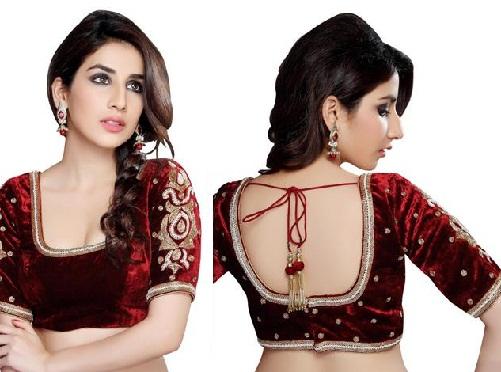 15 Gorgeous Velvet Blouse Design Patterns for Sare