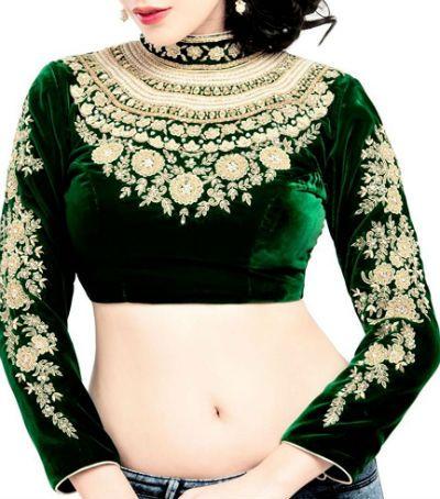 Full Sleeves Green Velvet Saree #Blouse | Blouse designs indian .