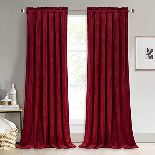 Amazon.com: NICETOWN Red Velvet Curtains and Drapes for Bedroom .