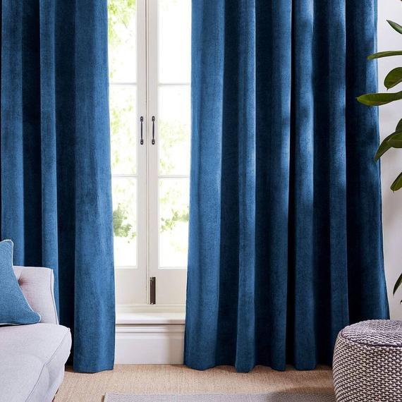 Indigo Blue Velvet Curtains and Drapes Dark Curtains Panels | Et