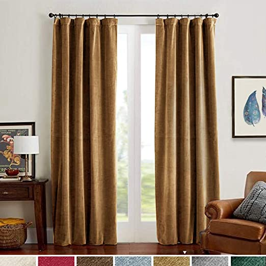 Amazon.com: Velvet Curtains Gold Taupe Room Darkening Thermal .