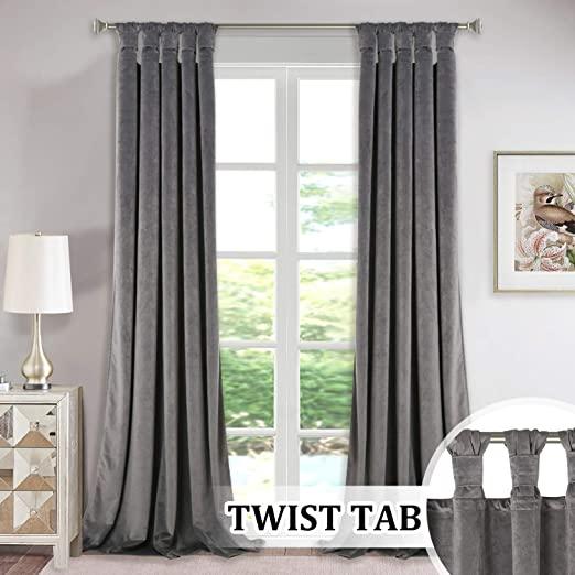 Amazon.com: Luxury Velvet Curtains Gray 96-inch - Modern Twist Top .