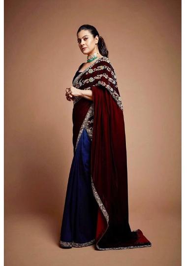 Kajol In A Royal Blue Maroon Velvet Saree In Priyankas Wedding .