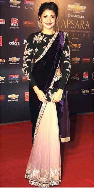 Anushka Sharma - dual fabric velvet pallu saree,Net & Velvet saree .