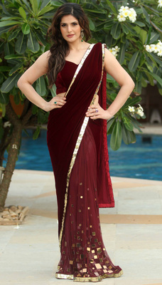 Maroon embroidered velvet saree with blouse - STYLEFUNIA - 8278