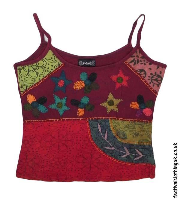 Embroidery Vest Top - Burgundy Flower - UK 16-18 | Festival Vest To