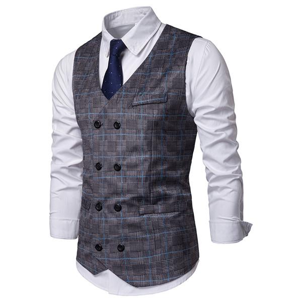 2020 2019 Summer New Plaid Waistcoat Vest Men Sleeveless Casual .