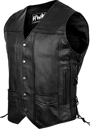Amazon.com: Leather Motorcycle Vest For Men Black Classic Vintage .