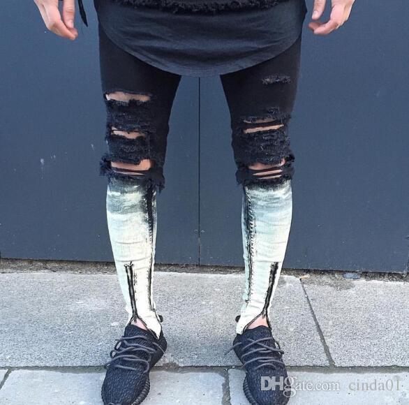 2020 West Vintage Jeans Men Biker Jeans Destroyed Black Fabric .